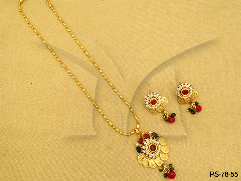 temple-coin-pendant-sets-fashionable-laxmi-coin-with-earring-antique-pendant-set-14196700098k4gn