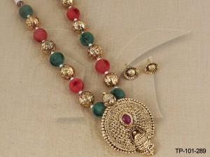 Temple Jewellery Pendant sets : Balaji Design Temple Pendant Sets