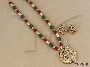 Temple Jewellery Pendant sets : Laxmi Mata Design Temple Pendant Sets