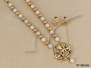 Temple Jewellery Pendant sets : Net Moti Temple Pendant Sets