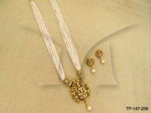 Laxmi Ji Single Moti Designer Pendant Set Manek Ratna  | Temple Jewellery Pendant Sets | Manek Ratna