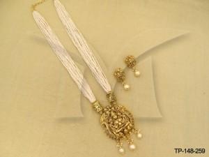 Laxmi Ji Triplet Moti Designer Pendant Set Manek Ratna  | Temple Jewellery Pendant Sets | Manek  ...