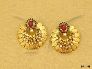 Temple Earrings , Round Style South Indian Coin Earrings | Manek Ratna