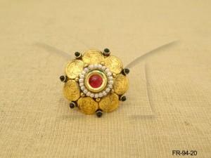 Temple Jewellery , Laxmi Ji Coin Style Temple Finger Rings | Manek Ratna