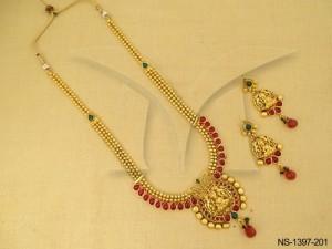 Temple Jewellery , Laxmi Ji Kemp Paan Bordered Wrap Temple Necklace Set | Manek Ratna