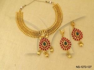 Temple Jewellery , Laxmi Ji Paan Style Textured Spiritual Necklace Set | Manek Ratna
