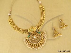 Temple Jewellery , Laxmi Ji Peacock Style Half Chand Kemp Necklace Set | Manek Ratna
