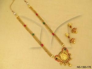 Temple Jewellery , Laxmi Ji Raj Singhasan Virajit Temple Necklace Set | Manek Ratna