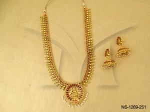 Temple Jewellery , Paan Round Base Laxmi Ji Spiritual Temple Necklace Set | Manek Ratna