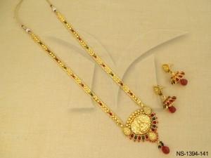 Temple Jewellery , Paan Style Based Shri Laxmi Ji Temple Necklace Set | Manek Ratna