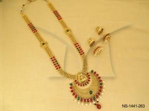 Temple Jewellery , Chand Round Web Kemp Stone Temple Necklace Set | Manek Ratna