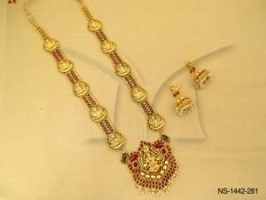Temple Jewellery , Hexagon Based Laxmi Ji Temple Necklace Set | Manek Ratna