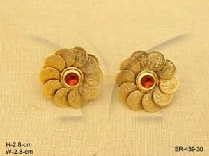 Temple Jewellery , Kamala Laxmi Ji Designed Coin Earrings | Manek Ratna