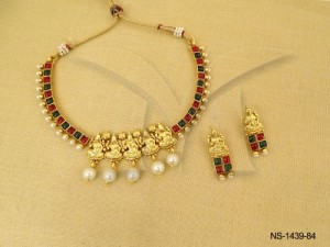 Temple Jewellery , Panch Mukhi Goddess Kemp Temple Necklace Set | Manek Ratna