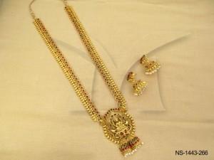 Temple Jewellery , South Indian Laxmi Ji Locket Kemp Temple Necklace Set | Manek Ratna
