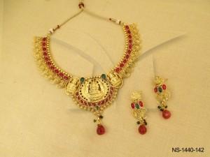 Temple Jewellery , Tridevi Laxmiji Oval Base Kemp Temple Necklace Set | Manek Ratna