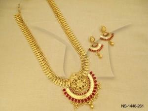 Temple Jewellery , Half Round Laxmi Ji Centered Kemp Temple Necklace Set | Manek Ratna