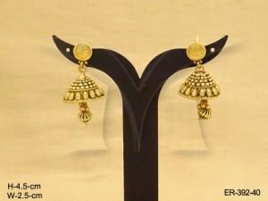 Temple Jewellery , Micro Gold Plated Medium Size Umbrella Jhumki  Golden Antique Earring | Manek ...