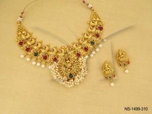 Temple Jewellery , Mor Pank Laxmi Ji Chand Paan Filled Temple Necklace Set   Manek Ratna