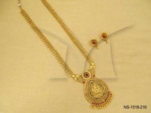 Temple Jewellery , Paan Inner Laxmi Ji Virajit Temple Necklace Set   Manek Ratna