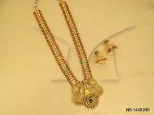 Temple Jewellery , Peacock Based Laxmi Ji Temple Kemp Necklace Set | Manek Ratna