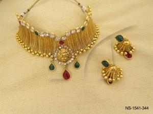Temple Jewellery , Neck Wrapped Laxmi Centered Temple Necklace Set   Manek Ratna