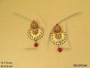 Temple Jewellery with Chand South Style Moti Drop Temple Coin Earrings by Manek Ratna