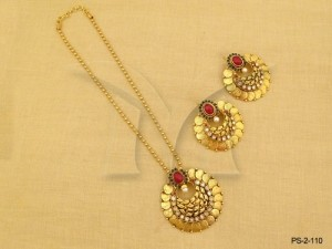Temple Jewellery with Flower Style Coin Mata  Pendant Sets by Manek Ratna
