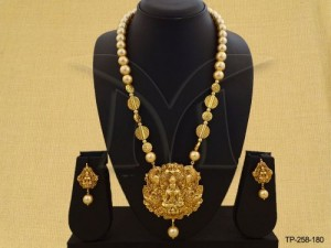 Temple Jewellery , Laxmi Ji Moti Designer Temple Pendant Set | Manek Ratna