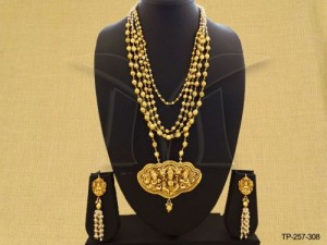 Temple Jewellery , Multi Chained South Indian Temple Pendant Set | Manek Ratna