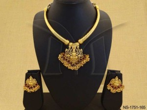 Temple Jewellery with  Strong Based Laxmi Ji South Indian Temple Necklace Set  by Manek Ratna
