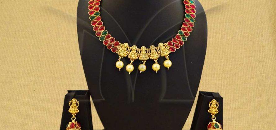 Panch Mukhi Temple Necklace Set